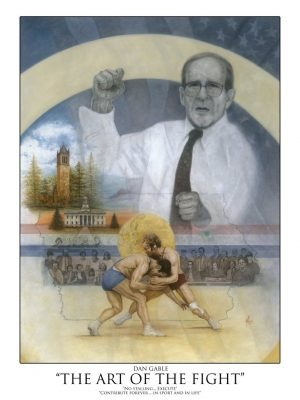 "Autographed poster of Dan Gable titled ""The Art of The Fight"""