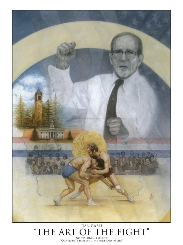 """Autographed poster of Dan Gable titled """"The Art of The Fight"""""""